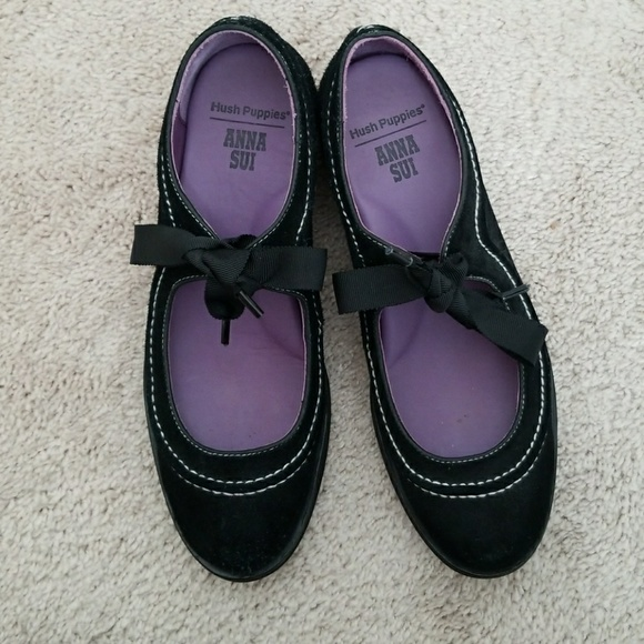 ANNA SUI for HUSH PUPPIES Multi SZ NIB AS Tap MSRP $105 Black Suede
